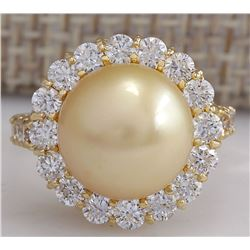 1.20 CTW Natural 10.70Mm Gold South Sea Pearl Diamond Ring 14K Yellow Gold