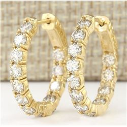 3.25 CTW Natural Diamond Hoop Earrings 18K Solid Yellow Gold