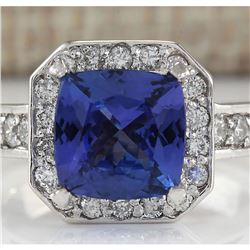 3.75 CTW Natural Tanzanite And Diamond Ring In 18K White Gold