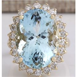 15.08 CTW Natural Aquamarine And Diamond Ring In 18K Solid Yellow Gold