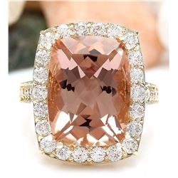 12.52 CTW Natural Morganite 18K Solid Yellow Gold Diamond Ring