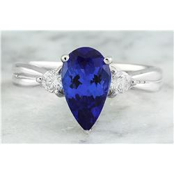 1.70 CTW Tanzanite 18K White Gold Diamond Ring