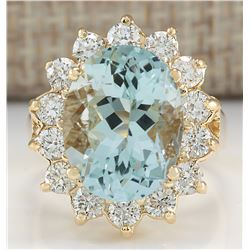 10.48CTW Natural Aquamarine And Diamond Ring In14K Solid Yello Gold