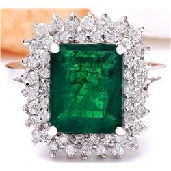 4.20 CTW Natural Emerald 18K Solid White Gold Diamond Ring