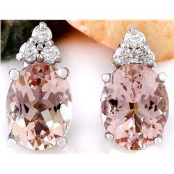 3.20 CTW Natural Morganite 14K Solid White Gold Diamond Earrings