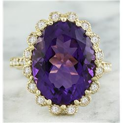 8.00 CTW Amethyst 18K Yellow Gold Diamond Ring