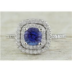 1.30 CTW Tanzanite 18K White Gold Diamond Ring