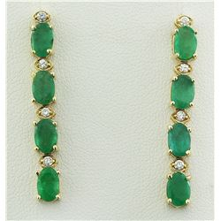 4.68 CTW Emerald 14K Yellow Gold Diamond Earrings