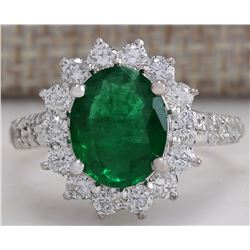 3.08 CTW Natural Emerald And Diamond Ring 18K Solid White Gold