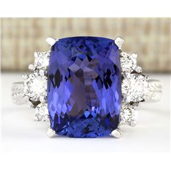 7.10 CTW Natural Blue Tanzanite And Diamond Ring 18K Solid White Gold