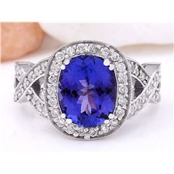 3.58 CTW Natural Tanzanite 18K Solid White Gold Diamond Ring