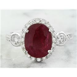 3.00 CTW Ruby 14K White Gold Diamond Ring