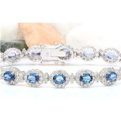 16.48 CTW Natural Sapphire 14K Solid White Gold Diamond Bracelet