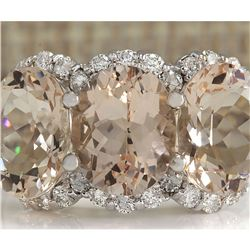 8.23 CTW Natural Peach Morganite And Diamond Ring In 18K Solid White Gold