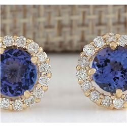 2.90CTW Natural Tanzanite And Diamond Earrings 14K Solid Yellow Gold