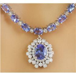 40.20 CTW Tanzanite 14K White Gold Diamond Necklace