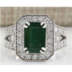 3.58 CTW Natural Emerald And Diamond Ring 18K Solid White Gold