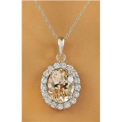2.00 CTW Morganite 18K White Gold Diamond Necklace