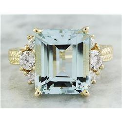 7.90 CTW Aquamarine 14K yellow Gold Diamond Ring