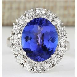 7.38 CTW Natural Blue Tanzanite And Diamond Ring 18K Solid White Gold