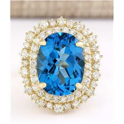 15.64 CTW Natural Blue Topaz And Diamond Ring In 18K Yellow Gold