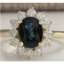 2.93 CTW Natural Blue Sapphire And Diamond Ring 14K Solid Yellow Gold