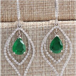 6.98CTW Natural Emerald And Diamond Earrings 14K Solid White Gold