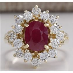 3.08 CTW Natural Red Ruby And Diamond Ring 14K Solid Yellow Gold