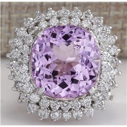 20.08 CTW Natural Kunzite And Diamond Ring 18K Solid White Gold