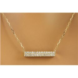 0.40 CTW Diamond 18K Yellow Gold Double Bar Necklace