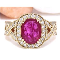 2.85 CTW Natural Ruby 18K Solid Yellow Gold Diamond Ring