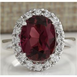 4.29 CTW Natural Pink Tourmaline And Diamond Ring 18K Solid White Gold
