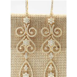10.67 CTW Natural Diamond Earrings 14k Solid Yellow Gold