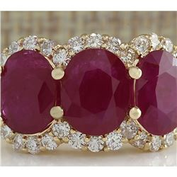 6.31 CTW Natural Red Ruby And Diamond Ring 18K Solid Yellow Gold