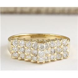0.75 CTW Natural Diamond Ring 18K Solid Yellow Gold