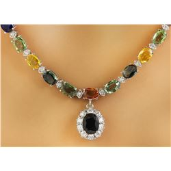 32.15 CTW Sapphire 14K White Gold Diamond Necklace