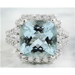 8.12 CTW Aquamarine 18K White Gold Diamond Ring