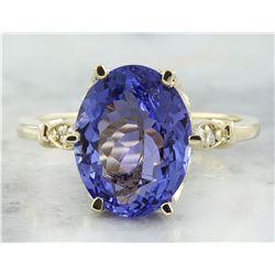 4.85 CTW Tanzanite 14K Yellow Gold Diamond ring