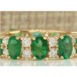 5.71 CTW Natural Emerald And Diamond Ring In 18K Yellow Gold