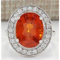 12.31 CTW Natural Mandarin Garnet And Diamond Ring 18K Solid White Gold