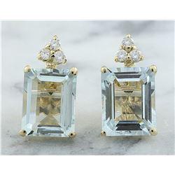 5.18 CTW Aquamarine 18K Yellow Gold Diamond Errings