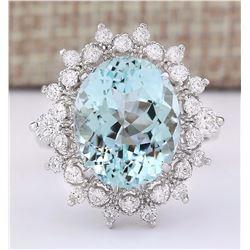 7.73 CTW Natural Aquamarine And Diamond Ring In 18K White Gold