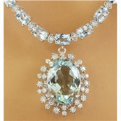 39.80 CTW Aquamarine 14K White Gold Diamond Necklace