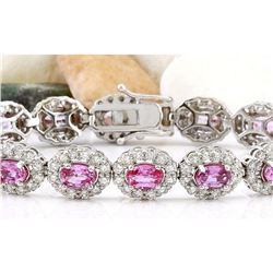 16.42 CTW Natural Sapphire 18K Solid White Gold Diamond Bracelet