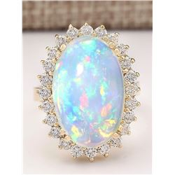 9.18 CTW Natural Opal And Diamond Ring In 18K Yellow Gold
