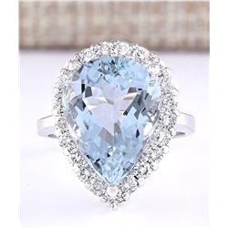 8.66 CTW Natural Aquamarine And Diamond Ring In 18K White Gold