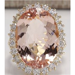 17.14 CTW Natural Morganite And Diamond Ring In 18K Solid Yellow Gold