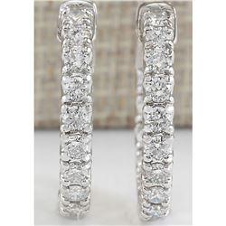 2.50 CTW Natural Diamond Hoop Earrings In 18K White Gold
