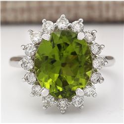 7.60 CTW Natural Peridot And Diamond Ring In 14k White Gold