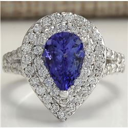 3.53 CTW Natural Tanzanite Diamond Ring 14K Solid White Gold